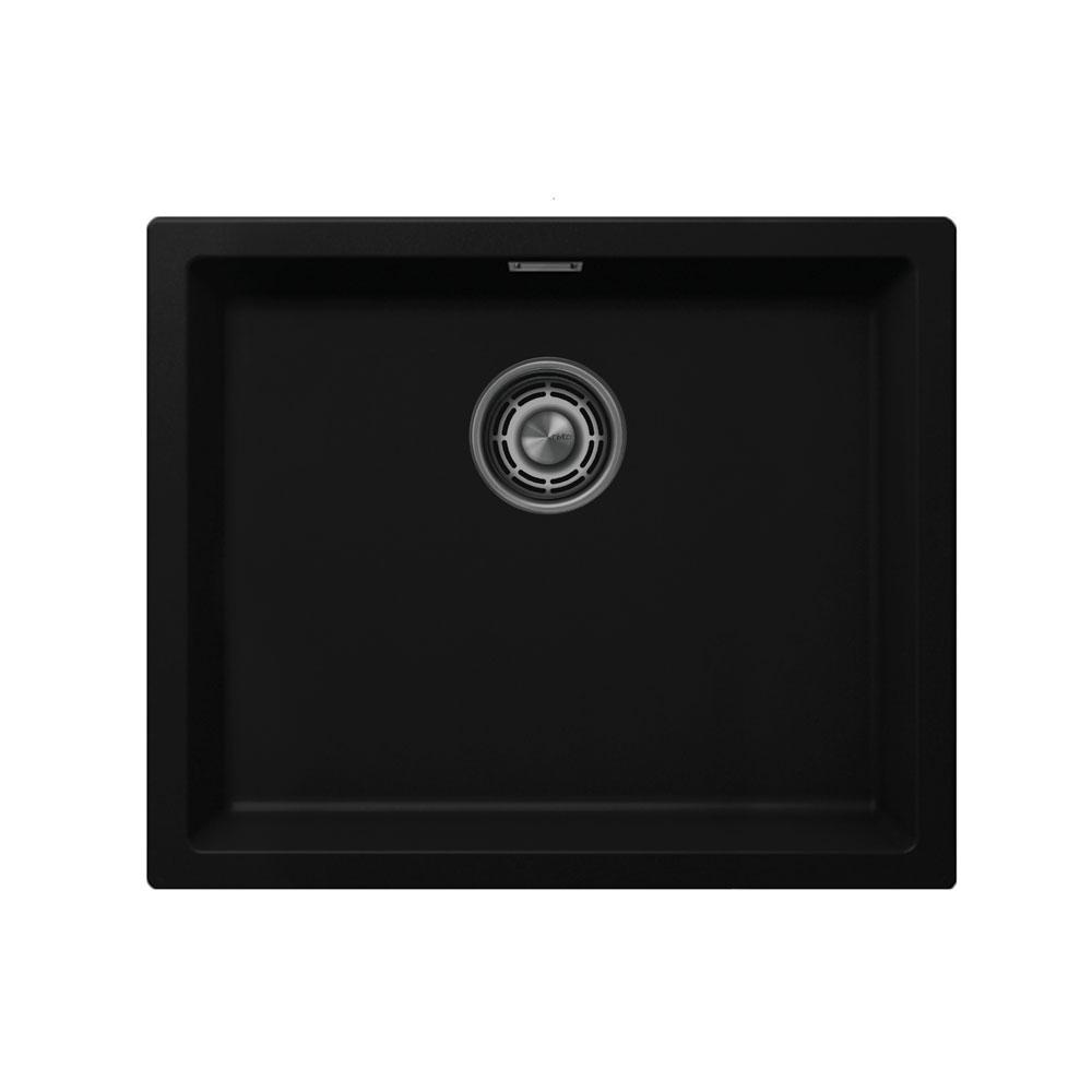 Zwart Keuken Bekken - Nivito CU-500-GR-BL Brushed Steel Strainer ∕ Waste Kit Color