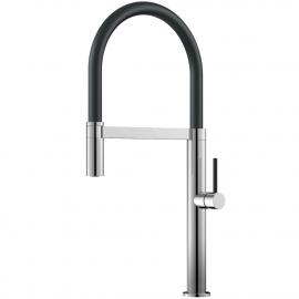 Keukenkraan Uittrekbare slang / Gepolijst/zwart - Nivito SH-210